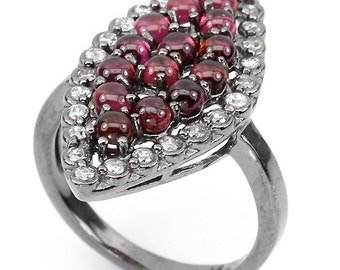 Natural Raspberry Rhodolite GARNET 925 Sterling Silver Ring with White CZ , size 7 US, January Birthstone