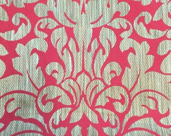 Red And Gold Damask Fabric - Luxurious Damask Fabric - Modern Damask - Classic Damask Fabric - Large Scale Fabric - Red Bold Damask Fabric