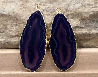 Purple Agate Slice, Purple Agate Slice Pair, Purple Geode Slice Pair, Purple Geode Slice, Purple Agate Slice, Dyed, Gold Plated, PG3810D