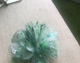Green Organdin Flower Brooch