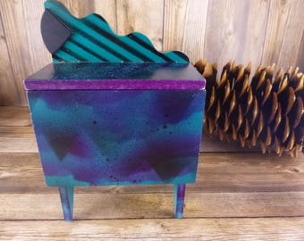 Hollis Fingold Vintage l990 Functional Art Signed Box | Memphis Design Style Inspired Wave Box | Limited Edition Wooden Trinket Jewelry Box