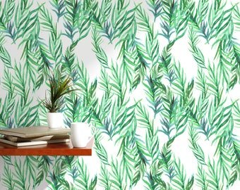 Watercolor Green Leaves Removable Wallpaper Floral Tropic Botanical  Illustration Self Adhesive Peel And Stick Jungle Interior