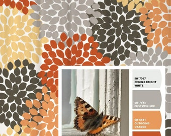 Shower Curtain Gray Orange Monarch Inspired Floral Standard and Long Lengths 70, 74, 78, 84 or 96 in. Let's make one in your colors!
