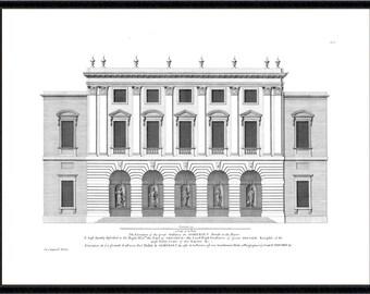 Somerset House architectural antique reproduction print architecture print vintage architecture print art