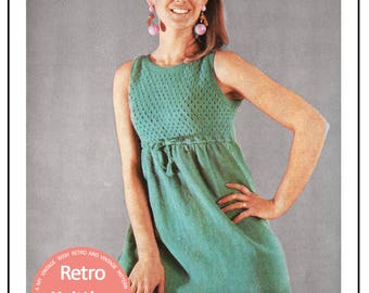 1960s Mini Dress Retro Knitting Pattern – PDF Instant Download