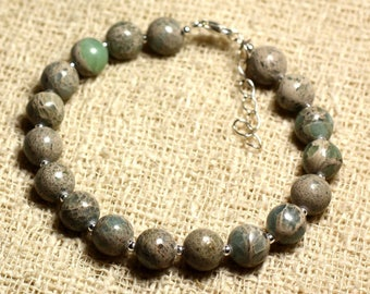 Bracelet 925 sterling silver and gemstone - Jasper Aqua Terra 8 mm