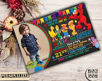 Sesame Street, Sesame Street Birthday, Sesame Street Invitation, Sesame Street Party, Elmo Invitation, Elmo Birthday, Sesame Street Invite