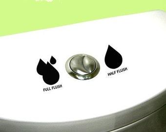 Dual Flush DECAL- earth friendly save water eco friendly Home Decor, toilet, Vinyl Wall Art, Shower, Bathroom, Interior Design