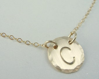 Hammered Initial Necklace - Gold Initial Necklace - Hand Stamped Initial Necklace
