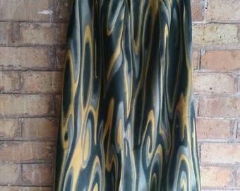 Vintage swirl print midi skirt