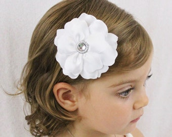 White Wedding Flower Hair Bow - Fancy Layered Flower Hair Bow - White Flower Girl Bow