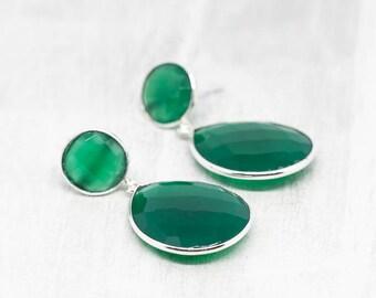 Big silver earrings Green Chalcedon Earrings