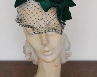 1930s Hat // Velvet Bow Turban Chapeau // vintage 30s hat