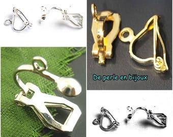 2pcs or 10pcs-color choice: clip earrings sleeper metal Silver / Gold / matte silver metal Stud Earrings non pierced ears