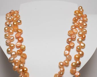 Double 10 mm Peach Pearl Necklace