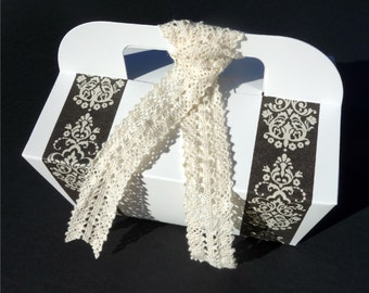 Dozen GABLE CAKE BOX (12) Black, Ivory, & White Paper Catering, To Go, Bakery Box, Welcome Favor w/ Handle Crocheted Lace Ribbon  Wedding