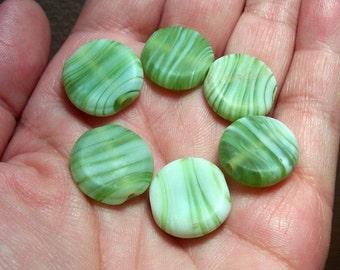 Matte Green Swirls Glass Coin Beads - 18mm - (6)