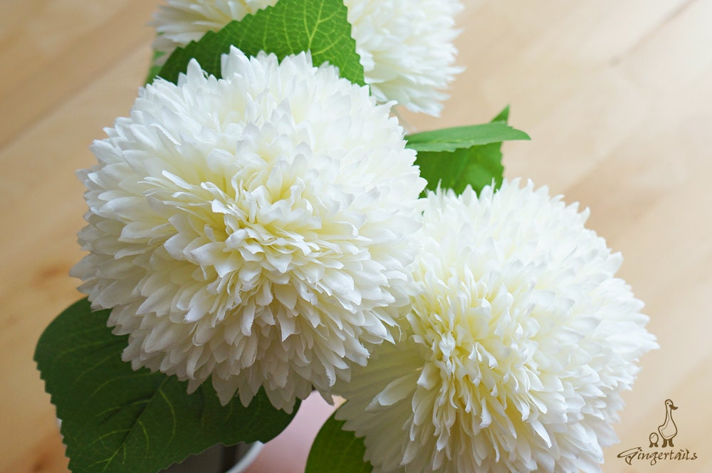 White ball chrysanthemum fb0020 02 artificial flower diy bride sold by gingertails mightylinksfo
