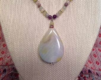 One of a kind natural gemstones beaded necklace