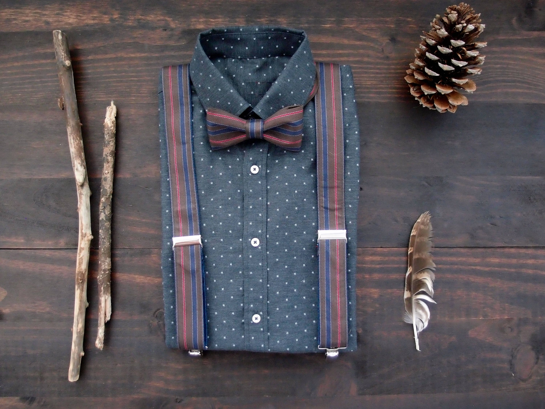 bruin gestreepte bretels met polkadot shirt