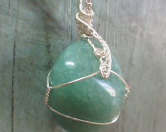 Green aventurine wire wrapped stone pendant necklace