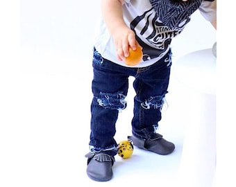 Jane / John Jeans - baby , toddler , kids - Unisex hand - distressed Skinnies (Sizes 6m-12y) ripped jeans , boys / girls jeans , cool jeans