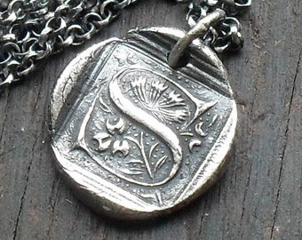 Wax Seal Initial Necklace in Sterling Silver