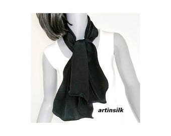 "Black Silk Neck Scarf, Small Black Scarf, Silk Crepe Scarf, Petite Scarf, 8.5"" x 43""- Black Silk Crepe 16mm, Pure Mulberry Silk, Artinsilk."