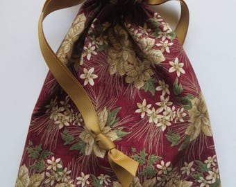 Maroon and Gold Poinsettia Lined Fabric Gift Bag