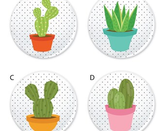 """Polka Dot Potted Plant Cactus Succulent Button 1.25"""" (Pin Back or Magnet)"""