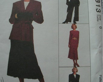 Misses LIned Jacket and Tie Belt, Top, Skirt and Pants Size 6 McCalls Pattern 6813 Jones New York Designs UNCUT Pattern 1993