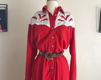 CLEARANCE Vintage Western Square Dancing Rodeo Dress in Red and White by Lilia Guilty Size 6 Medium