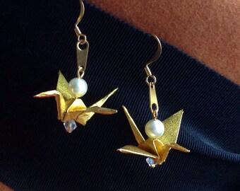 Pearl Gold Crane Earrings
