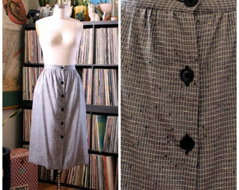 """1980s does 50s skirt . silver gray checked skirt . mid length secretary skirt, button front 29"""" waist, womens size medium large"""
