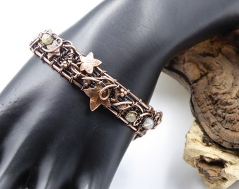 Copper Leaf Bracelet, Wire Wrapped Bracelet, Woodland Leaf Cuff, 7th Anniversary Gift, Copper Leaf Jewelry, Elven Bracelet, Ooak
