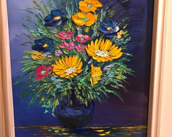 Framed Bouquet Painting