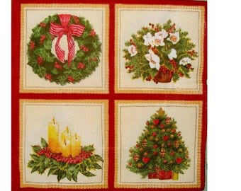 Set of 3 NOE067 Compositions of Christmas paper napkins, Christmas tree