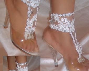 Barefoot Sandals, Wedding Sandals, White Lace Barefoot Sandals, Beach Bride Sandals, Wedding Barefoot Sandals, Bridal Bottomless Sandals