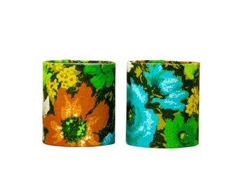 Barkcloth Lampshades - Green Floral Sconce Shades - Chandelier Shades - Mid Century - Turquoise - Drum Shade - Clip On - Retro Decor