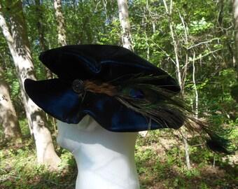 F026    VELVET Pancake Hat  Medieval Renaissance Men's Boy's  with Feather Embellishment