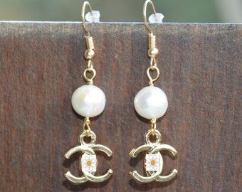 White pearl earrings, famous brand inspired earrings, pendant earrings, cluster earrings, long earrings, true handmade Italy