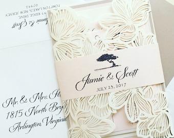 Blush Laser Cut Wedding Invitation - SAMPLE | Laser Cut Wedding Invitation | Floral Laser Cut Wedding Invitation