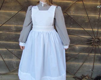 Williamsburg Historical Costume Old Fashioned -Gray Civil War Nurse- Child Size