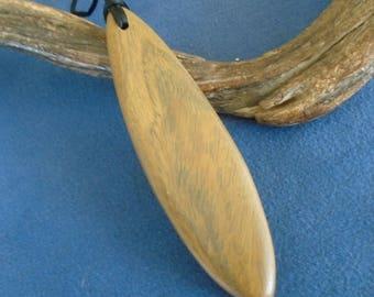 Lignum Vitae wood pendant. Exotic wood necklace. Simple wooden necklace.