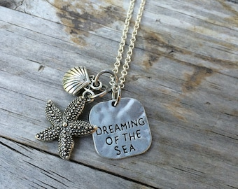 Dreaming of the Sea Necklace, Charm Necklace, Mermaid Necklace, Seashell and Starfish Necklace
