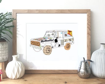 Ford Bronco - Ink and collage illustration