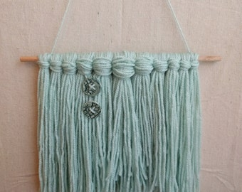 Mint Blue with Handcrafted Ceramic Buttons | Fiber Art | Weaving