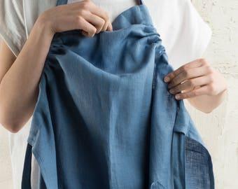 Linen apron, 15 colors, Blue apron, Long apron, Full linen apron, Natural linen apron for woman, Linen apron women, Natural linen aprons