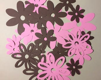 30 Pink and Brown flowers assorted Sizes between 1 and 3 inches Cricut Die Cut