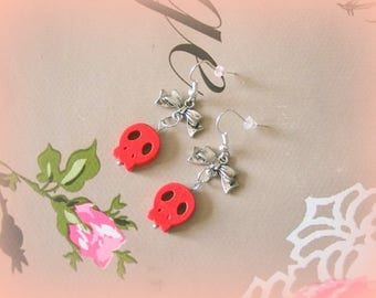 Skull earrings red howlite and Silver Bow only